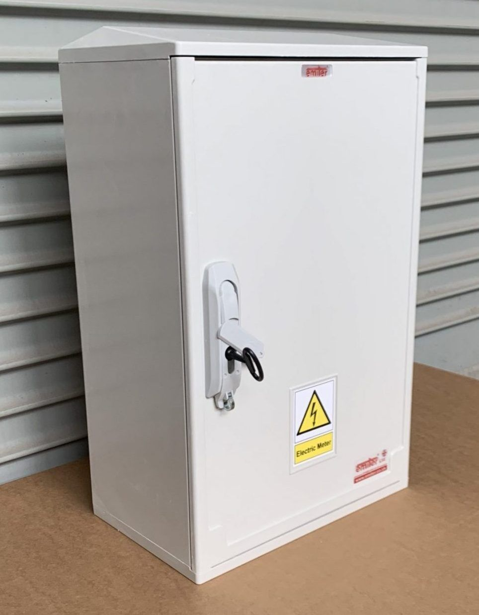 Surface mounted  Electric Meter Box W400xH600xD245 made of thick GRP, & incorporating very strong hinges, locking mechanism & removable door.