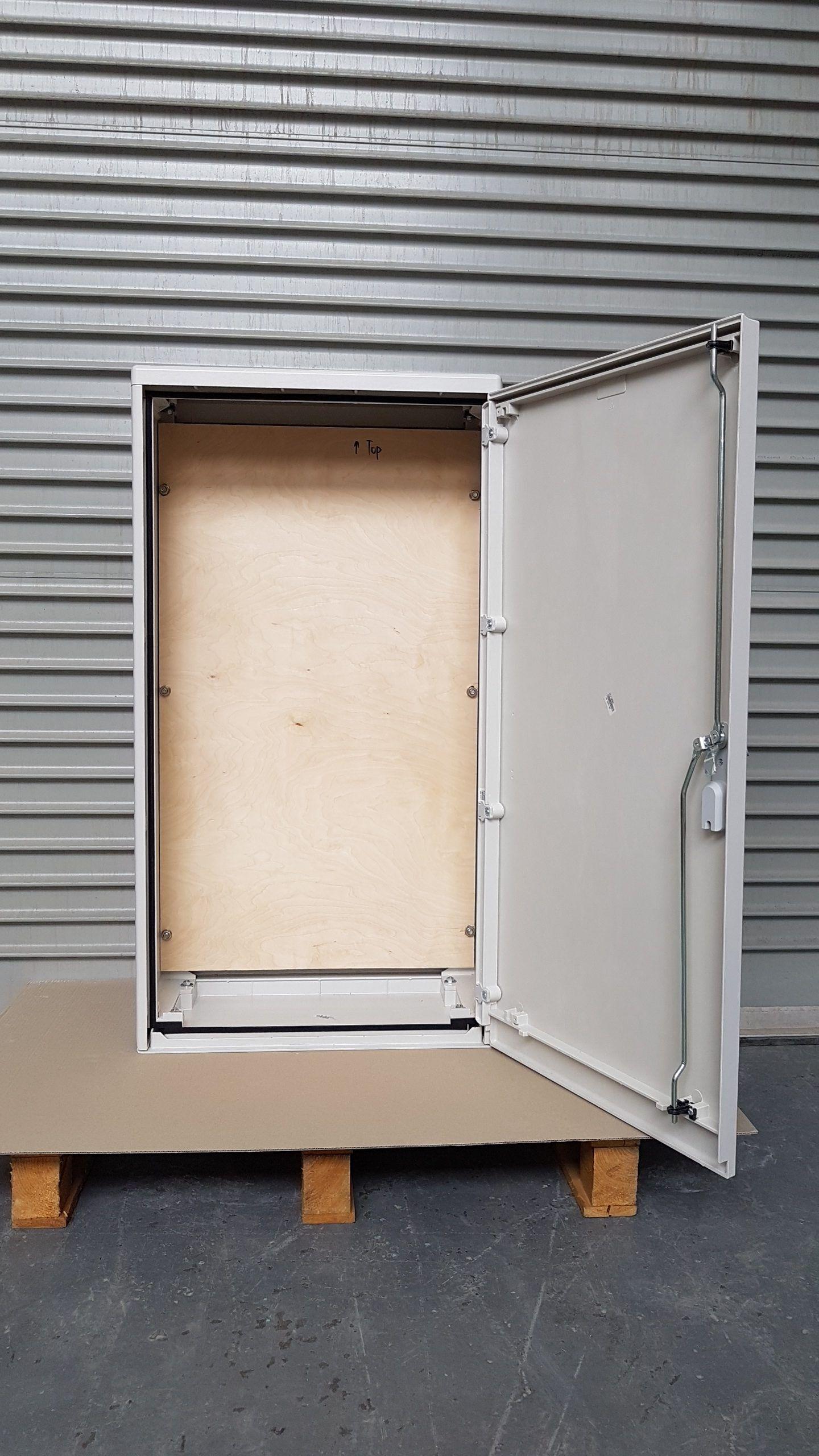 GRP Electric Meter Box W605 x H1150 x D320 mm, Open Door Front View