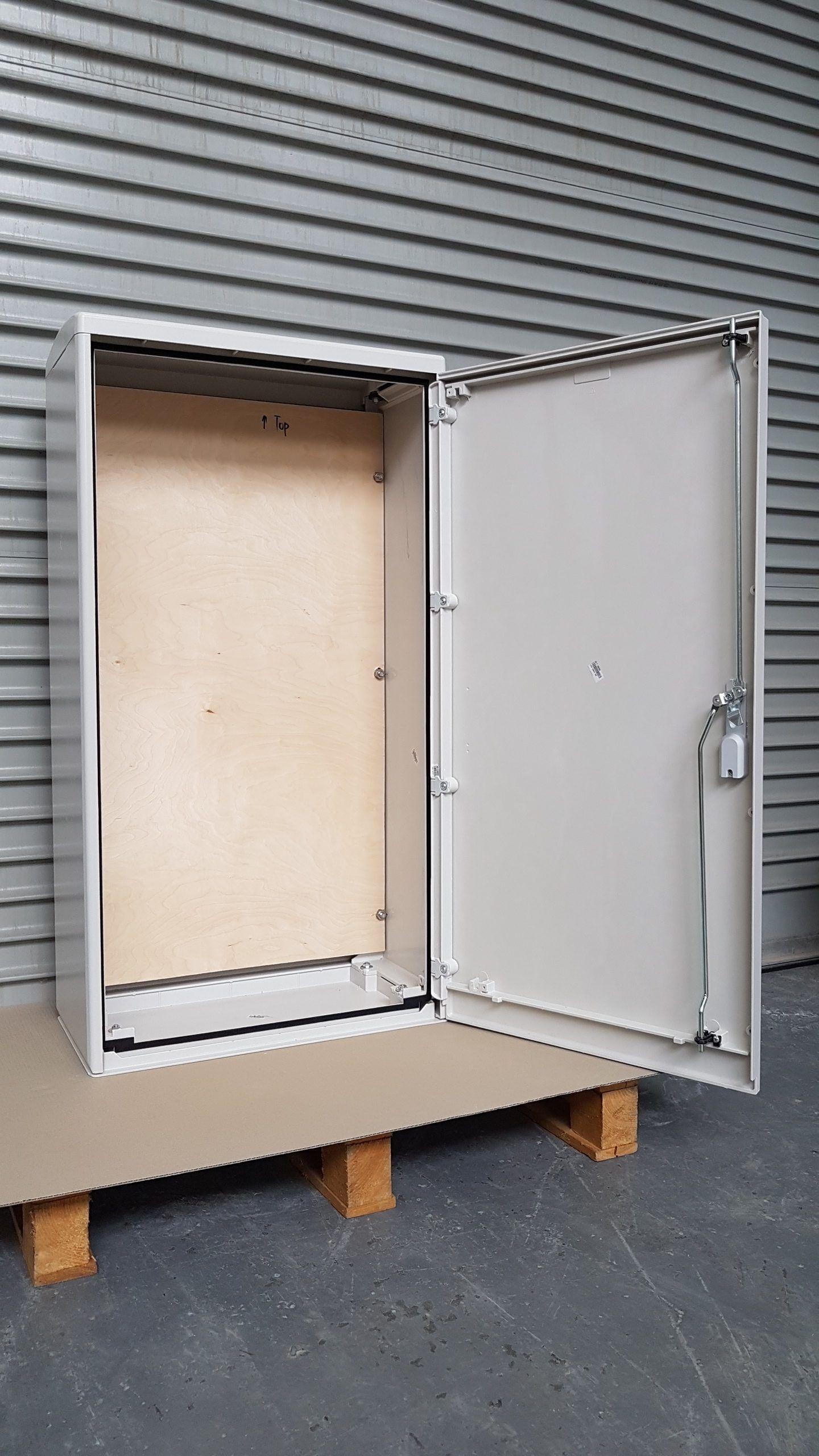 GRP Electric Meter Box W605 x H1150 x D320 mm Front View Open Door