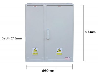 GRP Electric Enclosure, Kiosk, Cabinet, Meter Box, Housing (W660 x H800 x D245mm) Front View