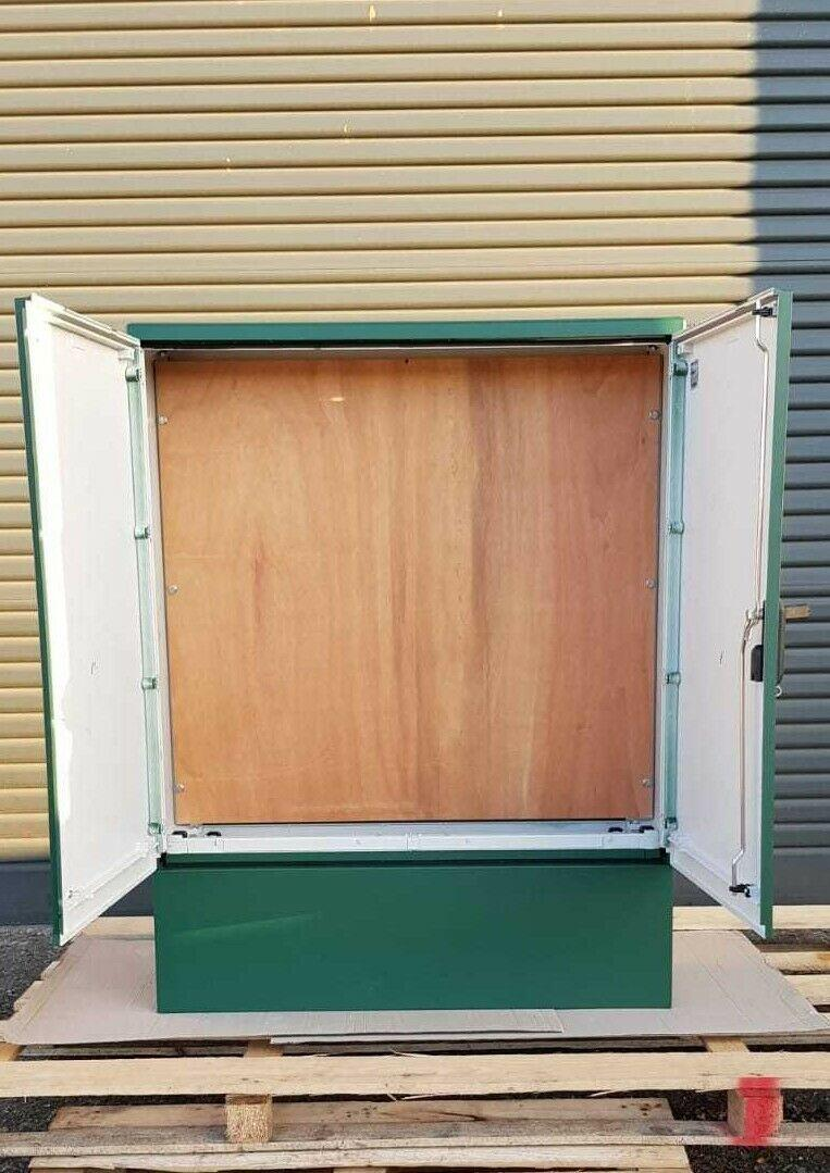 GRP Electric Enclosure, Kiosk, Cabinet, Meter Box, Housing Green 1130x1490x320 Inside View Open Doors